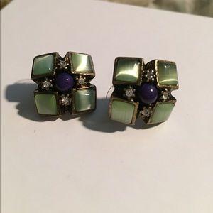 Green, Blue stone studs earrings